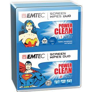 (€0,24*/1L) EMTEC Duo-Tücher Superman & Wonder Woman elektronische Geräte Reinigungstuch 20 Stück (ECCLWIPEDUO)