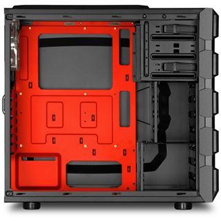 Sharkoon Bulldozer rot beleuchtet mit Sichtfenster Midi Tower ohne Netzteil schwarz
