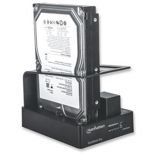 """Manhattan QuickDock Duo USB 3.0 Dockingstation für 2x 2.5"""" oder 3.5"""" Festplatten (130363)"""