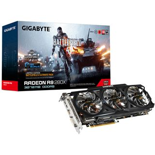 3GB Gigabyte Radeon R9 280X WindForce 3X OC Rev. 2.0 Battlefield 4 Aktiv PCIe 3.0 x16 (Retail)