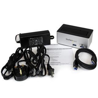 Startech USB 3.0 auf SATA/SSD Dockingstation mit integriertem USB Schnelllade-Hub für SSDs und HDDs (SDOCKU33HB)