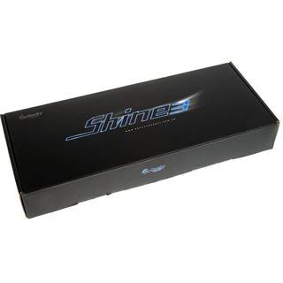 Ducky Shine 3 Slim rote LED MX Blue CHERRY MX Blue USB Deutsch schwarz (kabelgebunden)