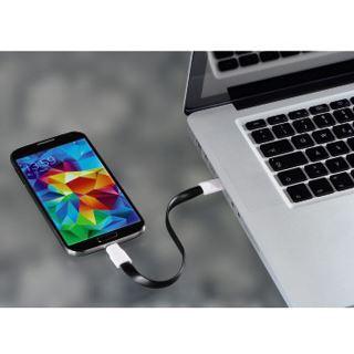 0.20m Hama USB2.0 Anschlusskabel USB A Stecker auf USB mikroB Stecker Schwarz flach