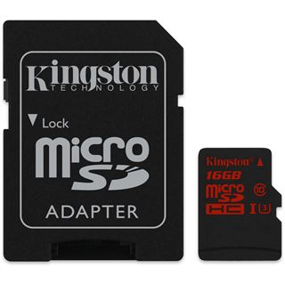 16 GB Kingston microSDHC Class 10 U3 Retail inkl. Adapter auf SD