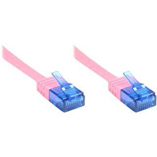 0.50m Good Connections Cat. 6a Patchkabel flach U/UTP RJ45 Stecker auf RJ45 Stecker Magenta vergoldet
