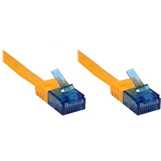 20.0m Patchkabel Cat. 6a U/UTP FLACHKABEL 500 MHz orange RJ45 Stecker auf RJ45 Stecker