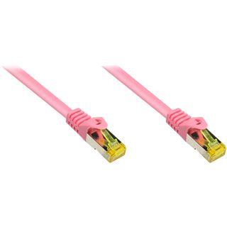 (€1,25*/1m) 20.00m Good Connections Cat. 7 Rohkabel Patchkabel S/FTP PiMF RJ45 Stecker auf RJ45 Stecker Magenta halogenfrei/vergoldet