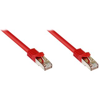 (€0,84*/1m) 25.00m Good Connections Cat. 7 Rohkabel Patchkabel S/FTP PiMF RJ45 Stecker auf RJ45 Stecker Rot halogenfrei/vergoldet