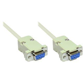 1.80m Good Connections Seriell Verbindungskabel 9pol Buchse auf 9pol Buchse beige