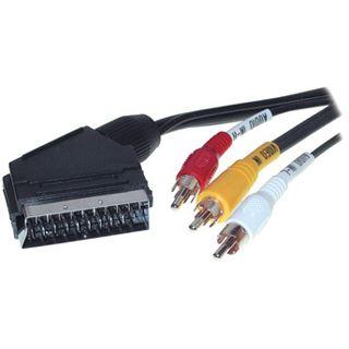 2.00m Good Connections SCART Anschlusskabel 20pol Stecker auf 3xCinch Stecker Schwarz