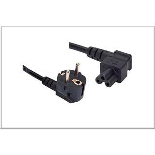 5.00m Good Connections Stromkabel Anschlusskabel gewinkelt Schutzkontakt Stecker auf 3pol Buchse Schwarz 3x 0,75mm²/90° gewinkelt
