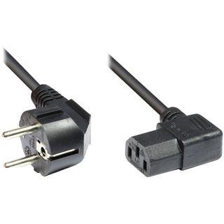 3.00m Good Connections Stromkabel Anschlusskabel Schutzkontakt Stecker auf C13 Buchse Schwarz gewinkelt