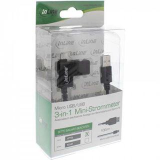 (€9,90*/1m) 1.00m InLine USB2.0 Anschlusskabel 3in1 USB A Stecker auf USB mikroB Stecker Schwarz mit Multimeter