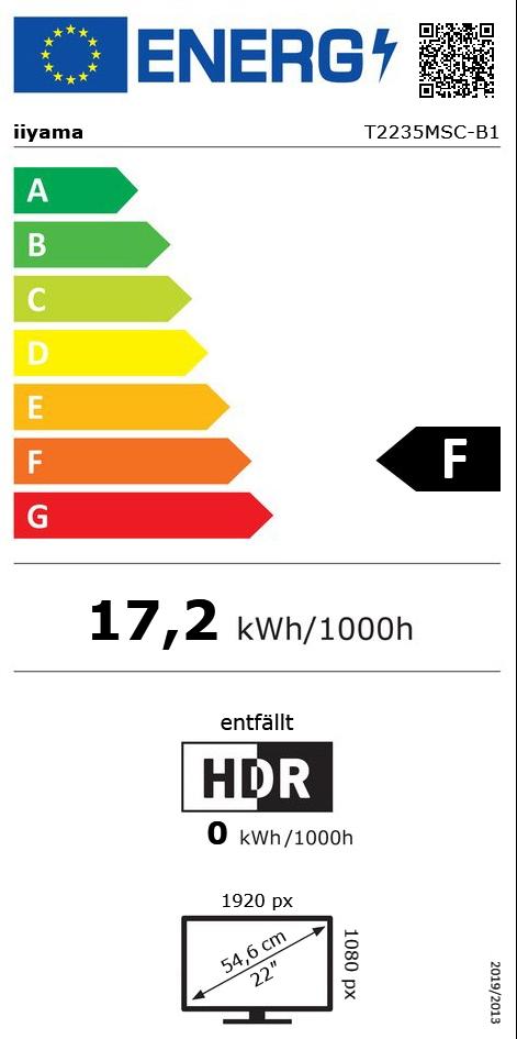 "21,5"" (54,61cm) iiyama ProLite T2235MSC-B1 Touch schwarz 1920x1080 1xDP / 1xDVI / 1xVGA"