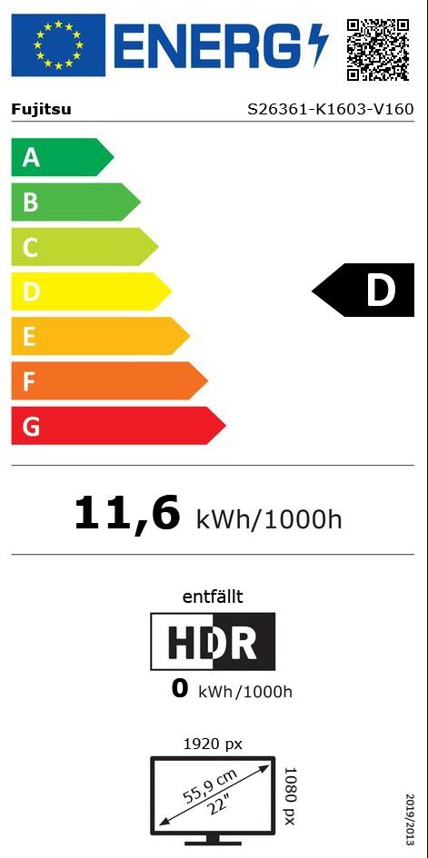 "22"" (55,88cm) Fujitsu E22-8 TS Pro schwarz 1920x1080"