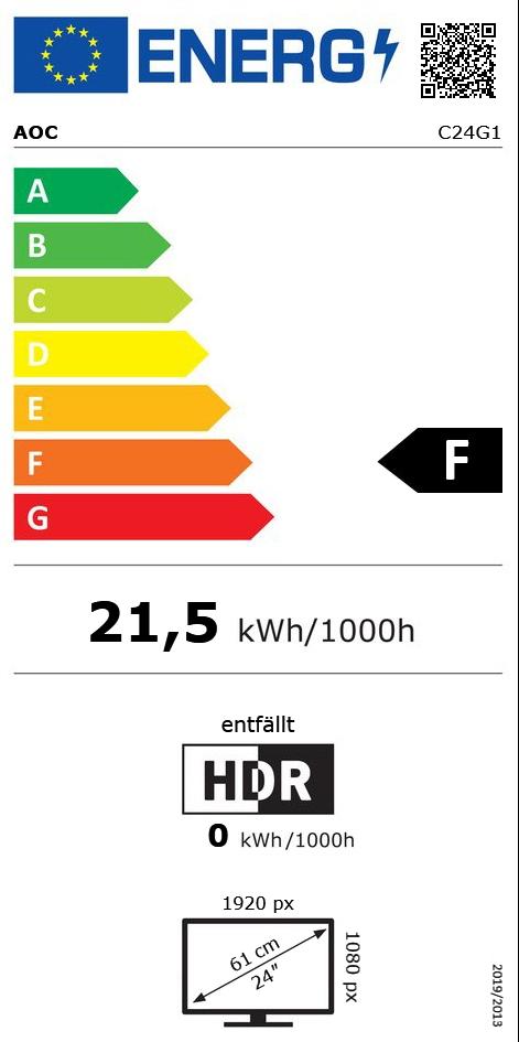 "23,6"" (59,94cm) AOC C24G1 schwarz/rot 1920x1080 1xDisplayPort /"