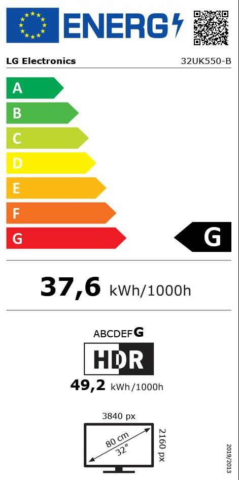 "31.5"" (80,01cm) LG Electronics 32UK550-B schwarz 3840x2160 1x"