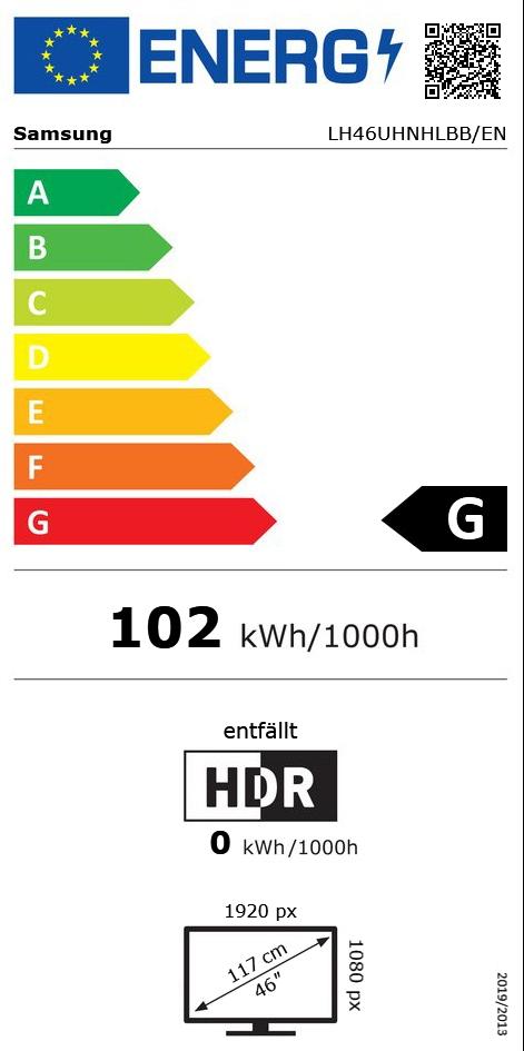 """46"""" (117cm) Samsung LH46UHNHLBB/EN Full HD 60Hz LED DVB-C2 /"""