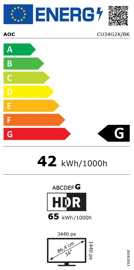 "34"" (86,36cm) AOC CU34G2X/BK schwarz 3440x1440 1x DisplayPort"