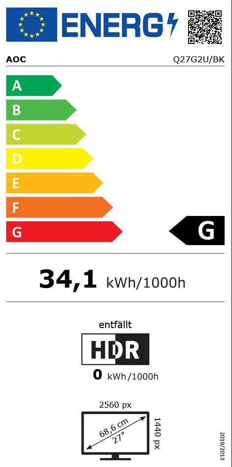 "27"" (68,58cm) AOC Q27G2U/BK schwarz/rot 2560x1440 1x DisplayPort"