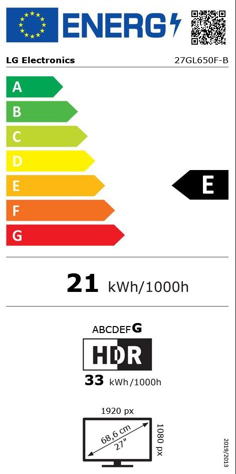 """27"""" (68,58cm) LG Electronics UltraGear 27GL650F-B schwarz"""