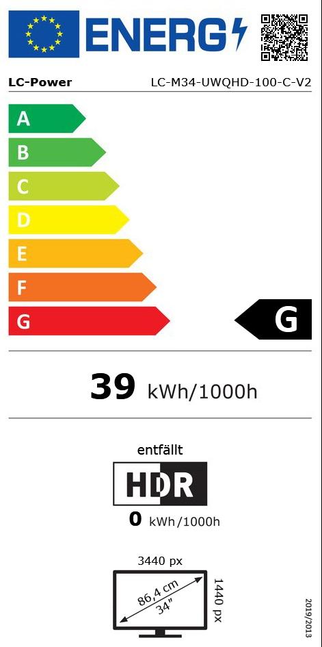 """34"""" (86,36cm) LC-Power Gaming LC-M34-UWQHD-100-C-V2"""