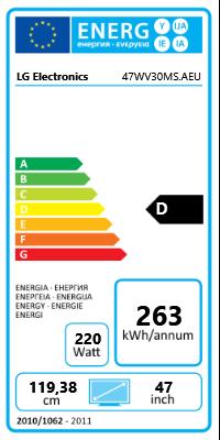 "47"" (119,38cm) LG Electronics 47WV30MS schwarz 1366x768 1xHDMI 1.3/1xVGA/1xDVI/1xKomponenten (BNC)/1xComposite"