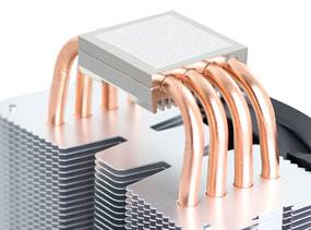 Vier leistungsstarke 6mm Heatpipes mit Aluminiumkappen