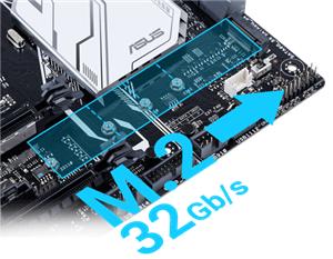 Einzigartige Geschwindigkeit von bis zu 32 Gb/s dank integriertem M.2.