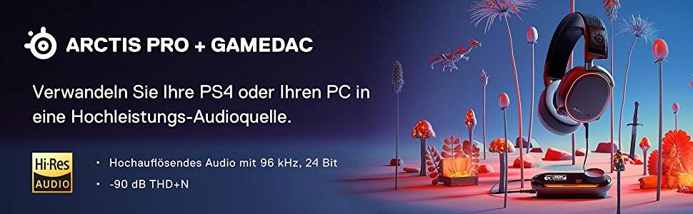 SteelSeries Arctis Pro GameDAC, Gaming-Headset, zertifizierte hochaufl?sende Audioqualit?t, ESS DAC
