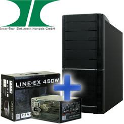 Inter-Tech Bundle: IT-9908 Aspirator Midi Tower + Line-EX 450W Netzteil