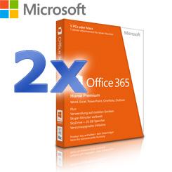 2x Microsoft Office 365 Home Premium - 1 Jahres-Abonnement für die ganze Familie