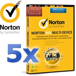 5x Norton 360 Multi-Device 2014 für 3 User - Schutz für alle Ihre Geräte