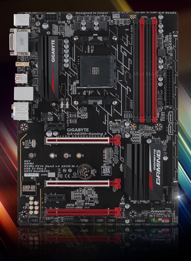 Gigabyte GA-AB350-Gaming 3 AMD B350 So.AM4 Dual Channel DDR4 ATX