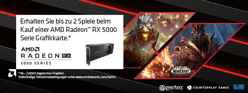 Erhalten Sie bis zu 2 Spiele beim Kauf einer AMD Radeon™ RX 5000 Serie Grafikkarte. (Bedingungen beachten)