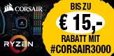 Jetzt sich für einen teilnehmenden CORSAIR Arbeitsspeicher oder eine SSD in Kombination mit einer qualifizierten AMD Ryzen™ 3000 Serie CPU entscheiden und bis zu € 15,- Rabatt erhalten. (Bedingungen beachten)