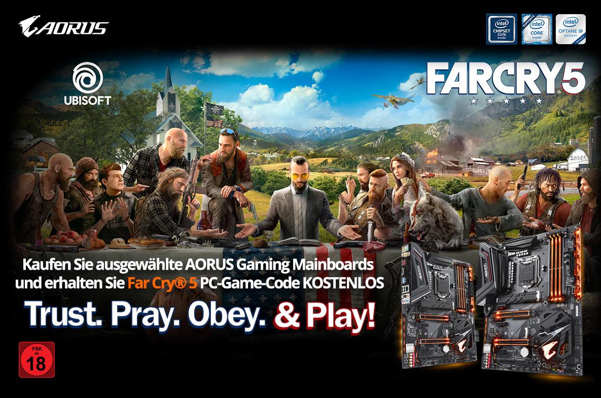 Kaufen Sie ausgewählte AORUS Gaming Mainboards und erhalten Sie Far Cry® 5 PC-Game-Code KOSTENLOS