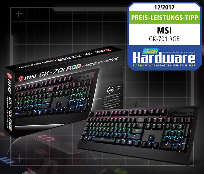 MSI GK-701 RGB GAMING CHERRY MX RGB Speed-Silver USB Deutsch schwarz