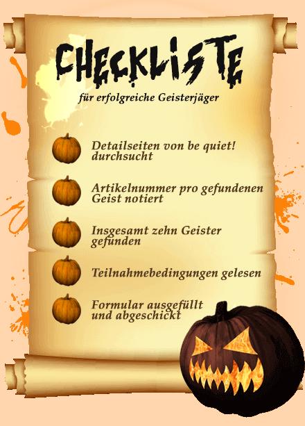 Happy Halloween Checkliste